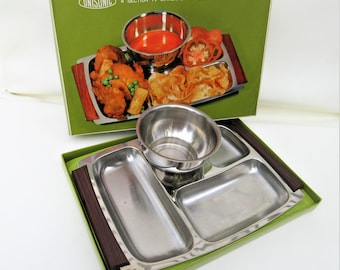 Vintage Divided Tray | Stainless Serving Tray | TV Dinner Tray | Snack Set with Bowl | Original Box