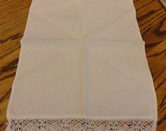 white vintage tea towel