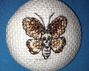 Death's Head Hawkmoth Button, 40mm button, Hand Embroidered Death's Head Hawkmoth Button