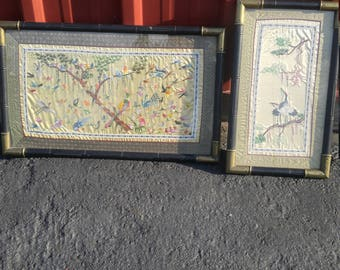 Pair of Brass Framed Oriental Tapestries (2) priced as a pair as in for both