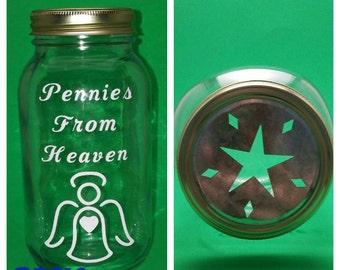 Pennies From Heaven Jar - Mason Jar - Piggy Bank - Angel piggy bank - In memory of
