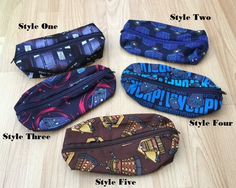 Doctor Who (Tardis and Dalek) pencil case or make up bag - handmade fandom fabric in 5 designs