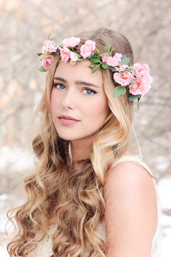 Flower crown Pink rose wreath bridal hair woodland wedding