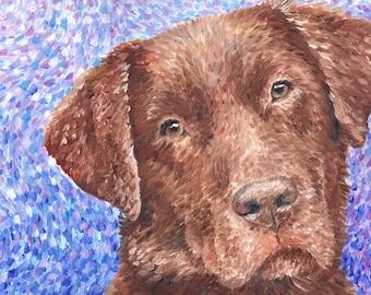 "Chocolate Labrador Giclée Art Print of Oil Painting - 8 x 10"""