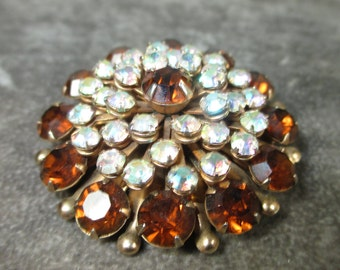 Vintage Rhinestone Floral Brooch Pin 1960s Amber Brown and Aurora Borealis Rhinestones Pin/Brooch, Stacked with 5 levels of Rhienstones