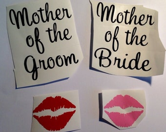 DIY Personalized Lips Mother of the Bride Mother of the Groom Vinyl Decals Make Your Own Wedding Tumblers Wine Glasses or Beer Mugs