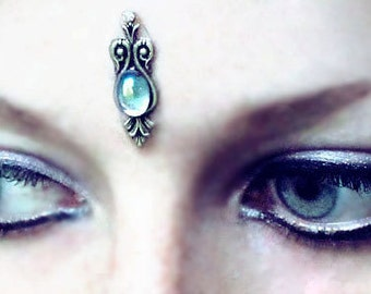 Water Sprite Bindi, blue bindi, silver bindi, little bindi, dancing bindi, boho bindi, festival bindi, forehead jewelry, face gem, wicca