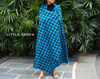 Blue Black Masai Shuka - Maasai Blanket - Tribal Clothing - African Fabric -  Jewelry - Throw - Leso - Picnic Rug