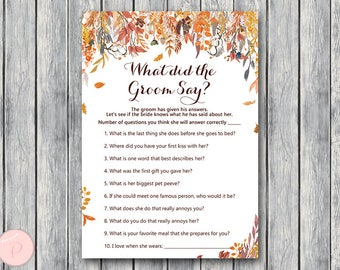 Autumn Fall What did the Groom Say Game, What did groom say about Bride, How well couple know each other, Couples shower Game WD84 TH47