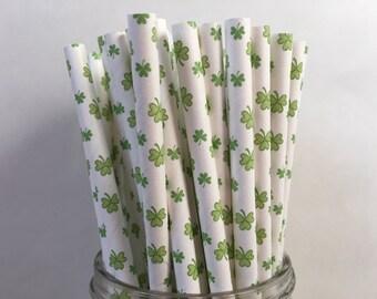 Shamrock Paper Straws, St Patrick's Day, St Patrick's Day Party, Shamrock Straws, Decorations for Saint Patrick's Day, Party decorations,10