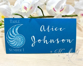 White Nautilus Shell Place cards wedding Summer outdoor barefoot event