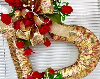 Dainty Victorian Mothers Day Heart Wreath, Shabby Chic Heart Wreath, Mothers Day Wreath With Red Roses,