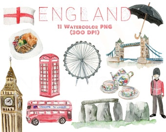 England Watercolor Clipart London British Europe Big Ben Digital Download Travel Invitation Paint Original