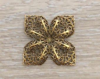 Gold Filigree Flower, Brass Stampings, 42 mm