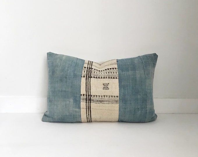 African Indigo, Wool Pillow Cover, Ethnic, Handwoven, Natural, Vintage, Boho