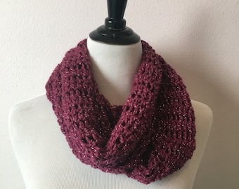 Infinity scarf- Magenta with Tinsel