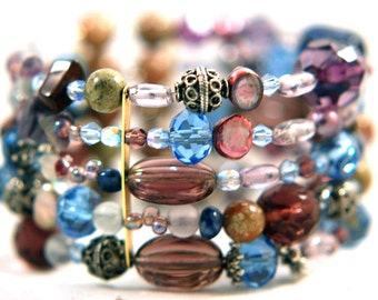 Bracelet Radiant Orchid Mix Gemstones Memory Wire Wrap