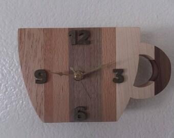 Coffee Cup clock, HANDMADE, wooden body
