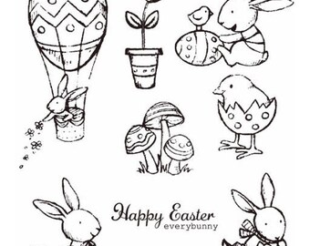 Easter bunny rabbit Clear Silicone Stamp Set for card making