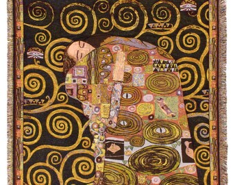 Black Klimt Throw Blanket - The Fulfilment Tapestry Throw - 56x56 Belgian Tapestry Throw - Gustav Klimt Design Throw Blanket - TT-7143/40