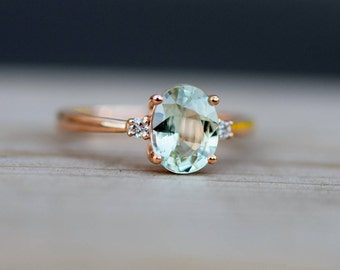 Sapphire Engagement Ring Oval cut 14k rose gold diamond ring Jasmine sapphire engagement ring by Eidelprecious