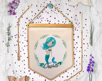Whimsical Mermaid fabric banner - Personalised Name