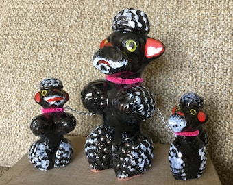 Poodles on a Chain, 50s Japan Black Poodles Chained Set, Redware