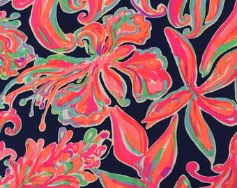 "resort navy banana flambe textured cotton fabric square 15""x15"" ~ lilly pulitzer"