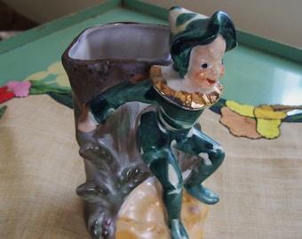 leprechaun elf vase,  fairy figurine  vase, small pixie vase