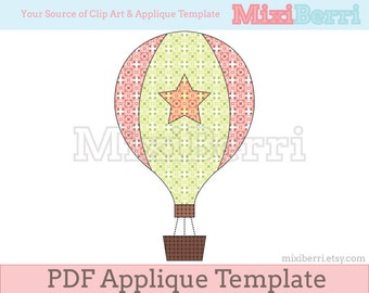 Hot Air Balloon Applique Template PDF Instant Download