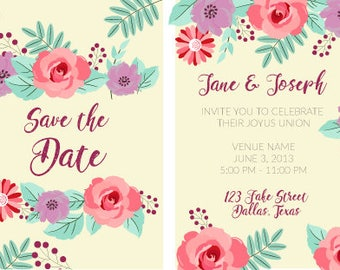 Double Sided Floral Wedding Save the Date
