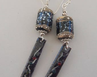 Earrings, with Artisan Lampwork and Enamel - Chinese Lanterns