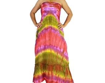Smocked off shoulder dress tie dye cotton 2 in 1 boho smock tube dress maxi summer sundress comfy beach casual dress long skirt (TD 116)