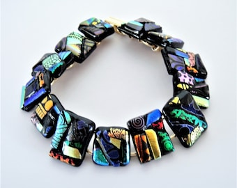 Dichroic Glass Bracelet of Abstract Patterns and Colors Geometric Shapes and Psychedelic Multicolor Dichroic Fused Glass Bracelet
