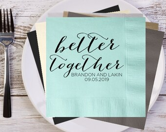 better together Rustic Names and Date Personalized Wedding Napkins, Custom Napkins, Bridal Shower Napkins, Wedding Reception Napkins