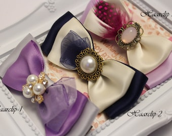 Hair clips with handmade and elegant bow purple-grey, navy blue-beige, beige-lilac
