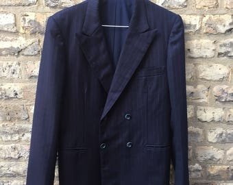 60s Navy Pinstripe Double Breasted Suit Men's Small, Jacket 36/ Trousers W28 L28