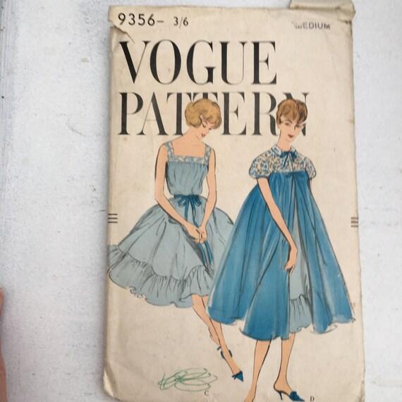 Vintage Vogue Pattern, 1950\'s Peignoir and Gown Nightwear, Vintage ...