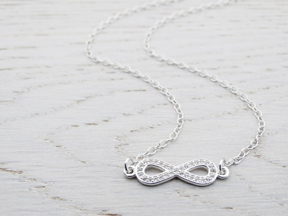 Silver & Topaz Infinity Necklace - Sterling Silver
