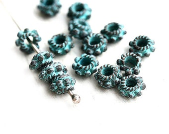 6mm Green Patina beads, Daisy spacers, greek metal casting beads, 2mm hole, Lead Free, patinated rondelle beads - 15pc - F182