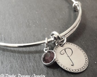 silver adjustable bridesmaid bracelet initial bangle personalized initial bracelet