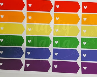 Heart Banner Stickers! 24 stickers! Great for Erin Condren, FiloFax, Kikki.K, or Plum Paper Planners (115)