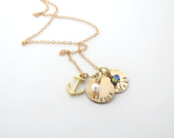 Personalized Necklace with Birthstone - Gold Anchor Necklace - Kids Name - Mothers Necklace - Personalized Jewelry - Grandma - Family