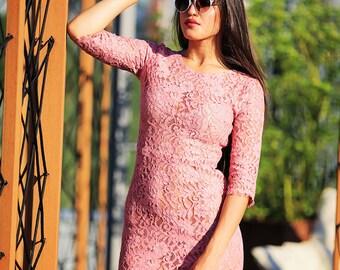 Lace rose pencil dress