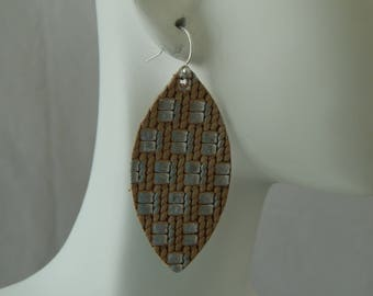 Tan and silver leather earrings with sterling earwires, boho chic earrings, handmade jewelry, tear drop, summer jewelry, neutral, marquis