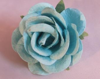 Paper Rose Flower Lapel Pin - Blue - Everyday / Weddings / Proms