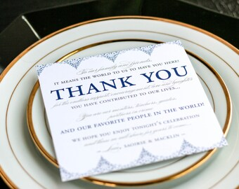 """Navy and Gold, Event Signage, Square Wedding Thank You, Table Thank You - """"Delicate Filigree"""" Reception Thank You Sign 5.25x5.25 - DEPOSIT"""