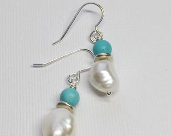 Turquoise and Pearl Gemstone Earrings- Sterling Silver Earrings- Sundance Style- Freshwater Pearls and Genuine Turquoise- Gift Idea-