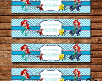 Ariel Birthday Water Bottle Label, Ariel Birthday, Disney Princess Water Bottle Label, The Little Mermaid
