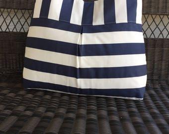 Large Diaper Bag Handbag Purse Tote Bag Shoulder Tote in Blue and White Stripes